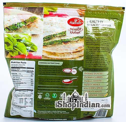 Haldiram's Healthy Spinach Paratha - 4 pcs (FROZEN) - Back