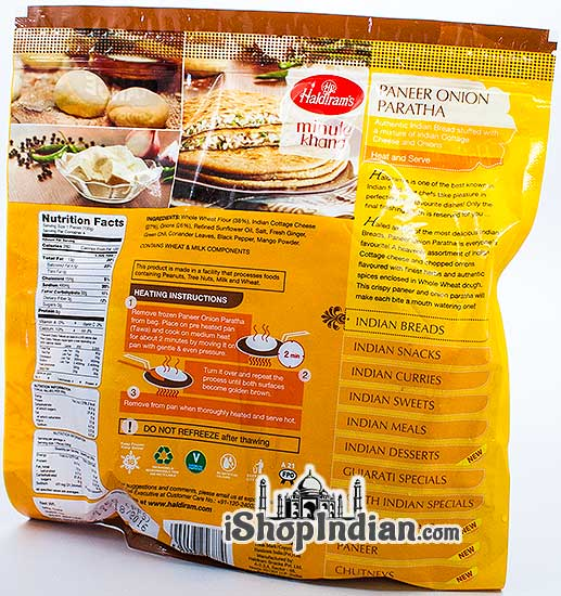 Haldiram's Paneer Onion Paratha - 4 pcs (FROZEN) - back