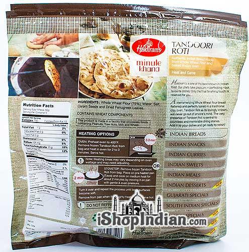 Haldiram's Tandoori Roti - 6 pcs (FROZEN) - back