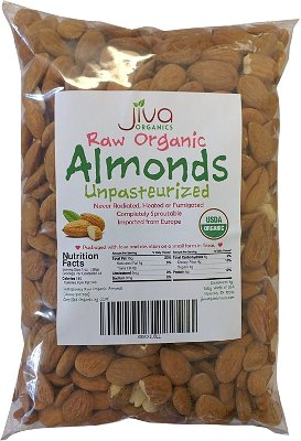 Jiva Organics Raw Organic Almonds - Unpasteurized