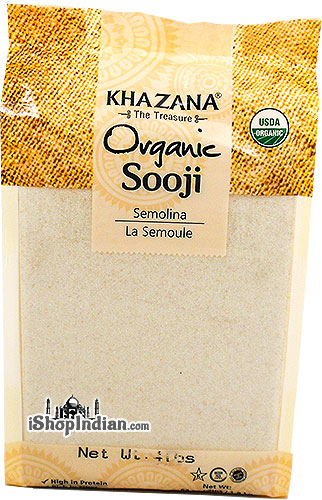 Khazana Organic Wheat Sooji (Cream of Wheat - Rawa) Wheat Semolina - 4 lbs