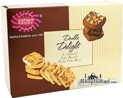 Karachi Bakery Double Delight - Cashew Biscuits & Chocolate Cashew Biscuits