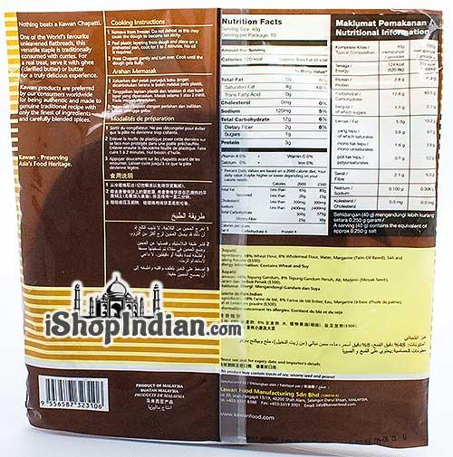 Kawan Chapatti - 10 pcs (FROZEN) - Back