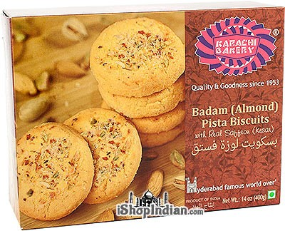 Karachi Bakery Badam (Almond) Pista Biscuits with Real Saffron (Kesar)