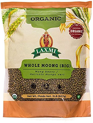 Laxmi Organic Whole Moong (Green Gram Whole) - 2 lbs