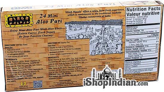 Mirch Masala Mini Aloo Puri - 24 pcs (FROZEN)- Back