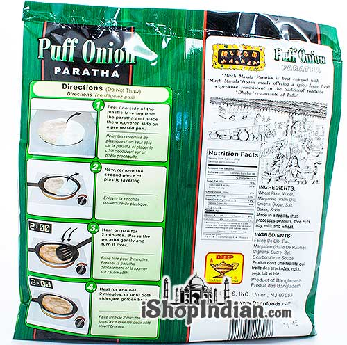 Mirch Masala Puff Onion Paratha - 5 pcs (FROZEN) - back
