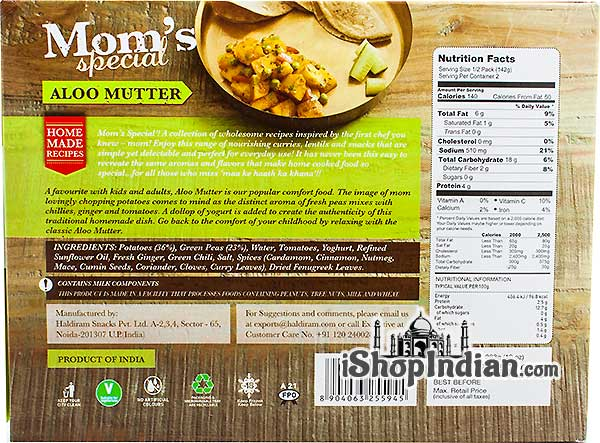 Mom's Special Aloo Mutter (FROZEN) - back