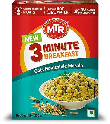 MTR Instant Oats Homestyle Masala - 3 Minute Breakfast - 8.1 oz