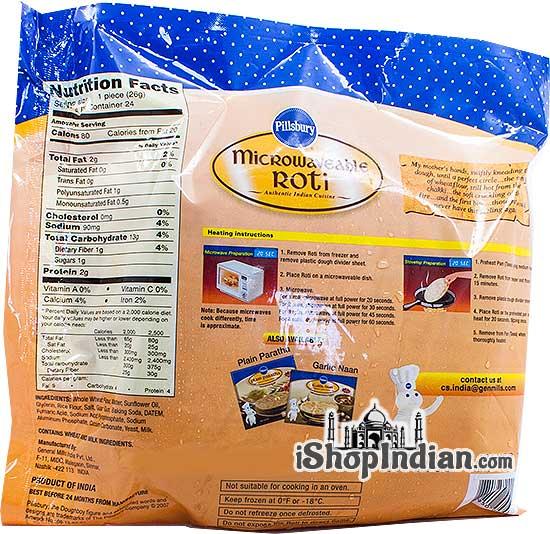 Pillsbury Microwaveable Roti - 24 pcs (FROZEN) - back