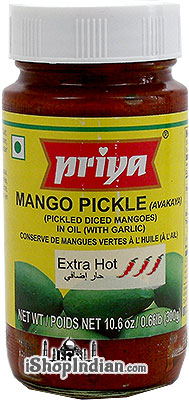 Priya Mango Pickle (Avakaya) with Garlic - Extra Hot