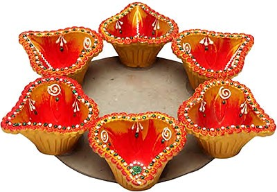 Rajdhani Diya without Wax - 6 pk (#192)