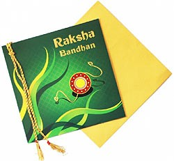 Raksha Bandhan Greeting Card + Rakhi