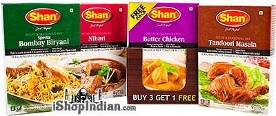 Shan Combo Spice Pack - 3+1 Free Pack - Bombay Biryani, Nihari, Tandoori Masala, Butter Chicken Mix