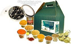 Spices of India: Deluxe 10 Spice Set WITH Gourmet Spice Container