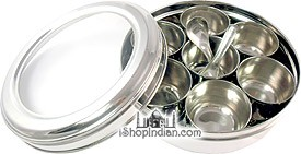 """Spice Container (masala dabba) - 8"""" (See-Through Lid)"""