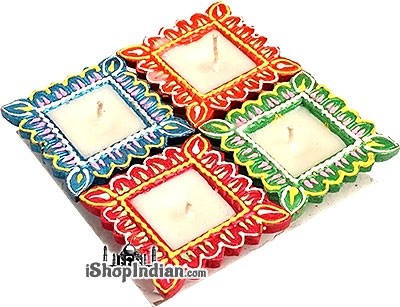 Fancy Square Diyas - 4 pack (#42)