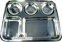 Stainless Steel Rimmed Plate with 5 Compartments (thali)