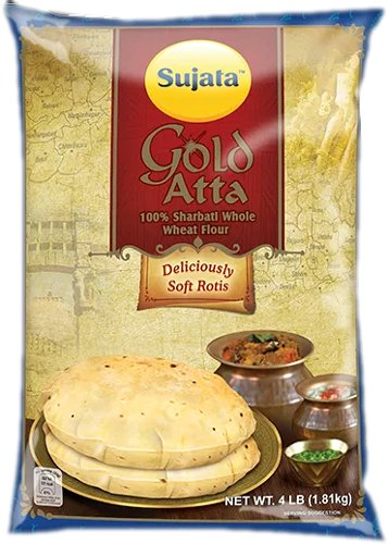 Sujata Gold Atta (Wheat Flour) - 100% Sharbati Atta - 4 lbs
