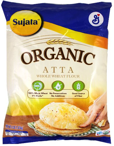 Sujata Organic Whole Wheat Flour (Atta) - 4 lbs