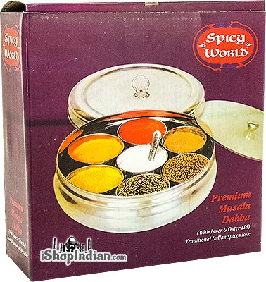 "Spice Container (masala dabba) - 8 1/4"" (Belly Shape w/ Clear & Stainless Steel Lids)"