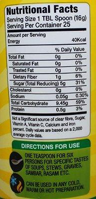 Tamcon Tamarind Concentrate - nutrition