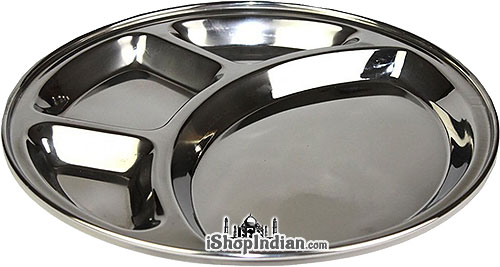 Stainless Steel Rimmed Plate with 4 Compartments (thali) - Round