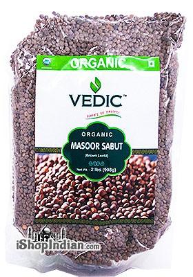 Vedic Organic Masoor Whole / Whole Red Lentil / Masoor Sabut - 2 lbs