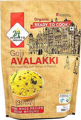 24 Mantra Organic Gojji Avalakki (Rice Flakes Mix with Tamarind Flavor) - Ready to Cook