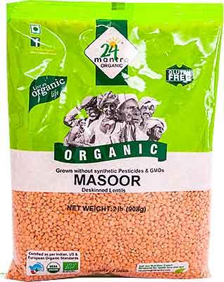 24 Mantra Organic Masoor Whole without Skin (Masoor Malka) - 2 lbs