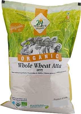 24 Mantra Organic Premium Whole Wheat Flour (Atta) - 20 lbs
