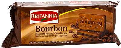 Britannia Bourbon Cappuccino Flavored Cream Biscuits- 100 gms (4-Packs)