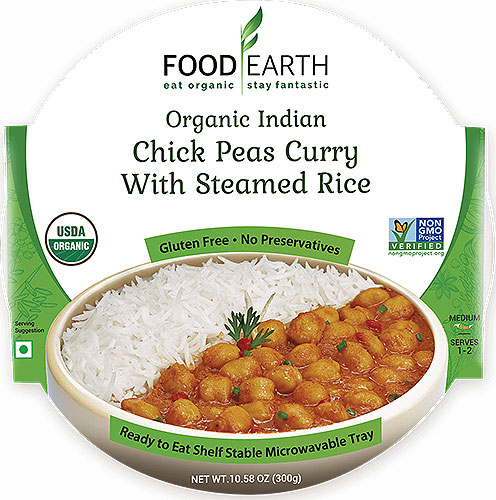 Food Earth Organic Chick Peas Curry with Steamed Rice (Ready-to-Eat)