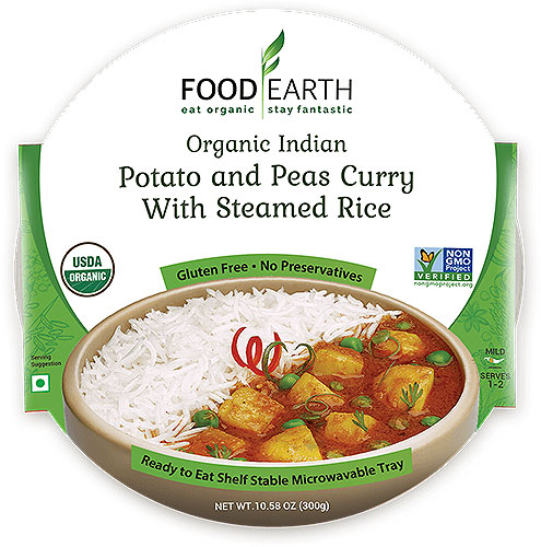 Food Earth Organic Potato and Peas Curry with Steamed Rice (Ready-to-Eat)