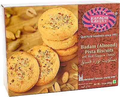 Karachi Bakery Badam (Almond) Pista Biscuits with Real Saffron (Kesar)