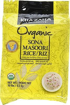 Khazana Organic Sona Masuri Rice - White - 10 lbs